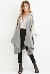 Forever 21 Heathered Shawl Poncho Cream Taupe