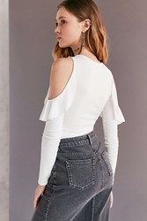 Kimchi And Blue Raindrop Ruffle Cold Shoulder Top White