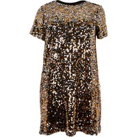 River Island Womens Plus Gold Sequin T Shirt Dress