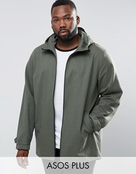 Asos Plus Lightweight Parka Jacket In Khaki Khaki Green