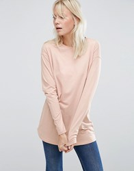 Asos Long Sleeve Longline T Shirt Light Pink