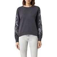 Allsaints Anya Embroidered Sweatshirt Ink Blue