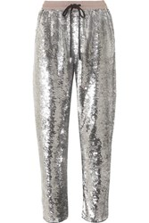 Ashish Sequined Cotton Track Pants Silver