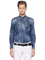 Dsquared Studded Cotton Denim Western Shirt