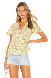 1.State Short Sleeve Wrap Front Blossom Cluster Blouse Yellow