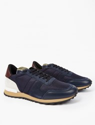 Valentino Navy Panelled Running Sneakers White
