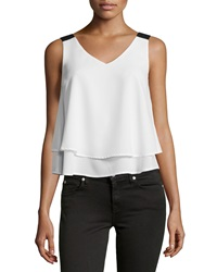 Design History Layered Chiffon Tank White Onyx