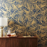 Cb2 Caymen Navy And Gold Palm Traditional Paste Wallpaper