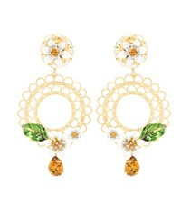 Dolce And Gabbana Crystal Embellished Clip On Earrings Gold
