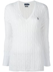Polo Ralph Lauren Braided V Neck Jumper White
