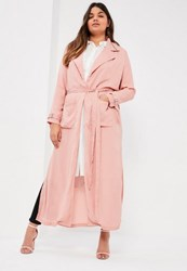 Missguided Plus Size Pink Belted Chiffon Maxi Duster Mauve