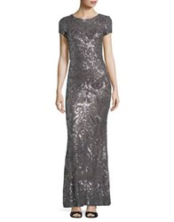 Betsy And Adam Sequined Floor Length Gown Taupe