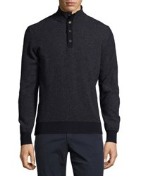 Luciano Barbera Button Placket Mock Neck Sweater Navy