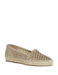 Frye Lee A Line Perforated Leather Espadrilles Grey