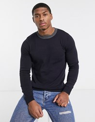 New Look Contrast Knitted Jumper In Navy