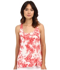 Calvin Klein Jeans Printed Mixed Media Tank Top Sunkist Coral Women's Sleeveless Multi