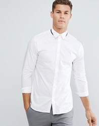 Selected Homme Slim Shirt With Tipped Collar White