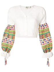 All Things Mochi Contrast Sleeve Shirt White