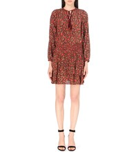 The Kooples Floral Print Silk Dress Bordeaux