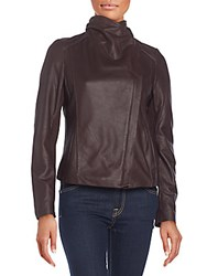 T Tahari Andreas Leather Moto Jacket Black
