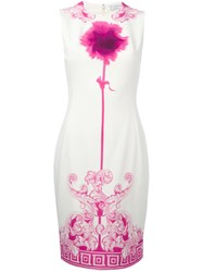 Versace Collection Neon Print Fitted Dress White