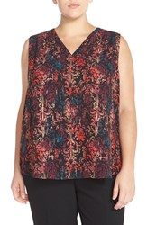 Plus Size Women's Halogen Print V Neck Shell Black Red Ombre Print