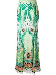 Temperley London 'Belle' Embroidered Maxi Skirt Green