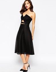 Warehouse Structured Midi Skirt Black