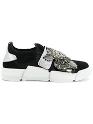 Elena Iachi Embellished Contrast Sneakers Black