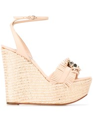 Casadei Fringed Chain Wedges Nude Neutrals
