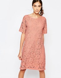 Selected Dacia Lace Shift Dress Dessert Sand Pink