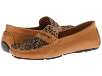 Massimo Matteo Penny With Cheeta Vamp Tan Bison Cheeta Women's Moccasin Shoes Brown