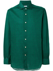 Kiton Checked Shirt Men Cotton 43 Green