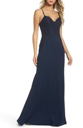 Hayley Paige Occasions Women's Lace And Crepe Trumpet Gown Black