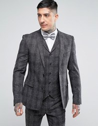 Rudie Skinny Nep Check Suit Jacket Grey