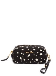 Miu Miu Faille Star Print Pouch Black Multi