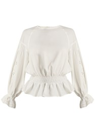 Muveil Embroidered Sleeved Twill Blouse White