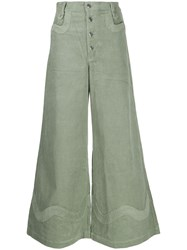 House Of Sunny Wide Leg Corduroy Trousers Green