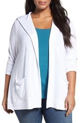 Sejour Plus Size Women's Hooded Open Front Cardigan White