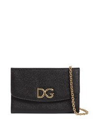 Dolce And Gabbana Dg Dauphine Leather Clutch Black