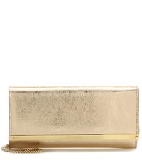 Jimmy Choo Milla Metallic Clutch Gold