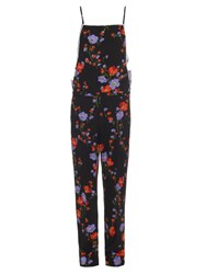N 21 Floral Print Square Neck Crepe Jumpsuit Black Multi