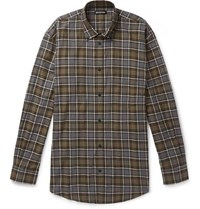 2e42629bb9e5 Balenciaga Oversized Logo Print Checked Cotton Flannel Shirt Multi