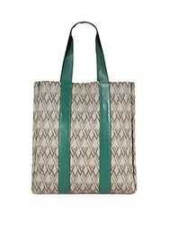 Valentino Canvas And Leather Tote Green