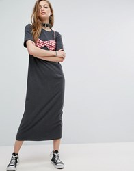 Asos Maxi T Shirt Dress With Bra Top Charcoal Grey