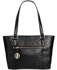 Giani Bernini Ostrich Embossed Tote Created For Macy's Black