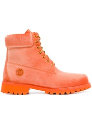 Off White Velvet Timberland Boots Yellow And Orange