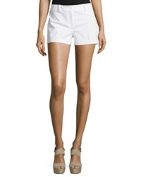 Michael Kors Collection Flat Front Mid Rise Shorts Optic White Women's Size 2