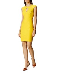 Karen Millen Cutout Scuba Dress Yellow