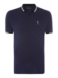 Religion Men's Regular Fit Tipped Collar Logo Polo Shirt Navy